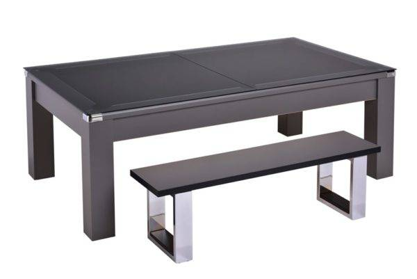 28854-1-Warwick Onyx Grey – Black Cloth with Glass Dining Top and Bench