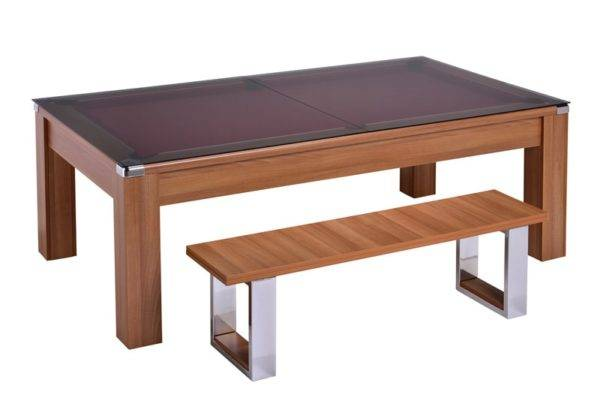 28861-1-Warwick Walnut – Red Cloth with Glass Dining Top and Bench