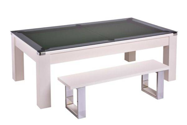 28867-1-Warwick White – Green Cloth with Glass Dining Top and Bench