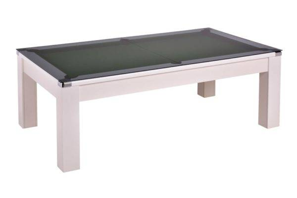 28868-1-Warwick White – Green Cloth with Glass Dining Top