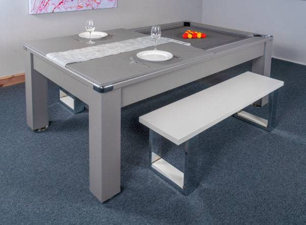 30435-1-Signature Warwick Pool Dining Table – with Half Top and Bench