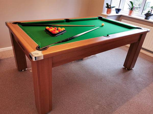 35983- Signature Warwick Pool Dining Table finished with a green cloth
