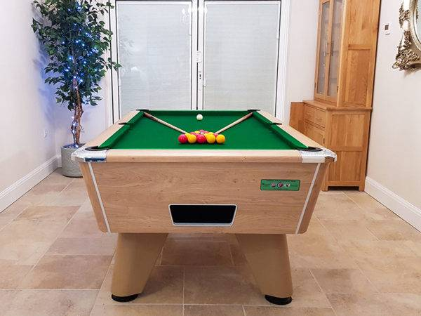 35988- Supreme Winner Pool Table in Oak Finished with a Green Cloth