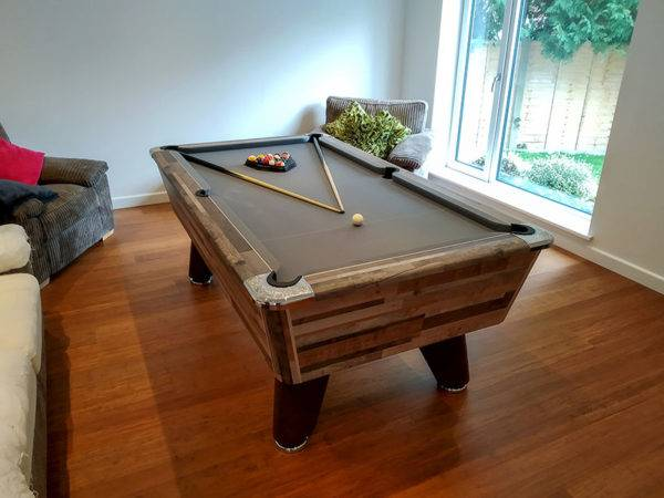 35989- Supreme Winner Pool Table in Vintage Festival finished with Grey Cloth