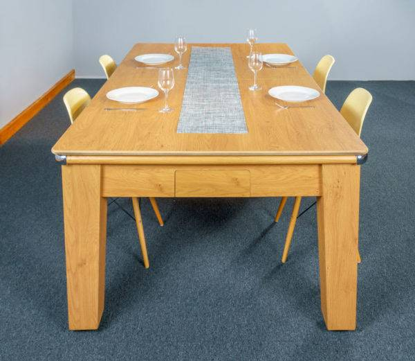 30386-1-Signature Imperial Pool Dining Table – End – with Top and Chairs